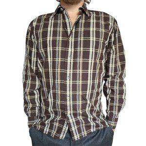 TOMMY HILFIGER Brown & White Plaid Shirt S